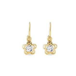 CZ EARRINGS FOR CHILDREN IN 14KT GOLD - YELLOW GOLD EARRINGS - EARRINGS