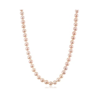 PINK PEARL NECKLACE WITH A SILVER FASTENING - PEARL NECKLACES - PEARL JEWELLERY