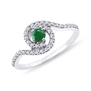 GOLD RING WITH EMERALD AND DIAMONDS - WHITE GOLD RINGS - RINGS
