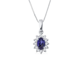 NECKLACE IN WHITE GOLD WITH DIAMONDS AND TANZANITE - GEMSTONE PENDANTS - PENDANTS