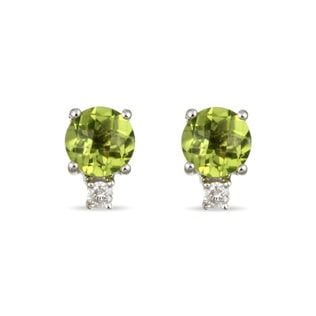 PERIDOT DIAMOND EARRINGS IN 14KT GOLD - PERIDOT EARRINGS - EARRINGS