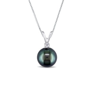 TAHITIAN PEARL AND DIAMOND PENDANT IN 14KT GOLD - PEARL PENDANTS - PEARL JEWELLERY