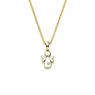 Baby diamond angel pendant in 14kt yellow gold