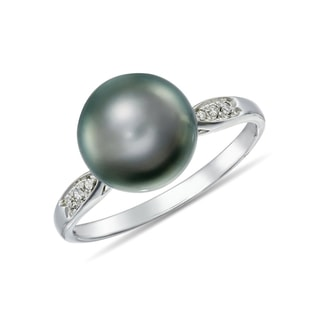 TAHITIAN PEARL AND DIAMOND RING IN 14KT SOLID GOLD - TAHITIAN PEARLS JEWELLERY - PEARL JEWELLERY