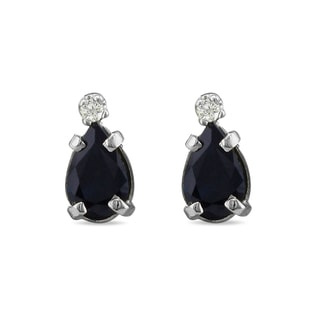 SAPPHIRE AND DIAMOND EARRINGS IN 14KT GOLD - SAPPHIRE EARRINGS - EARRINGS