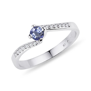RING WITH SAPPHIRE AND DIAMONDS IN WHITE GOLD - SAPPHIRE RINGS - RINGS