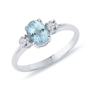 AQUAMARINE AND SAPPHIRE RING IN STERLING SILVER - AQUAMARINE RINGS - RINGS