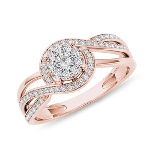 RING MADE OF PINK GOLD WITH DIAMONDS - ENGAGEMENT DIAMOND RINGS - ENGAGEMENT RINGS