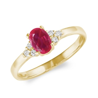 GOLD DIAMOND RING WITH A RUBY - ENGAGEMENT GEMSTONE RINGS - ENGAGEMENT RINGS