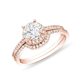 WEDDING AND ENGAGEMENT RING IN ROSE GOLD WITH DIAMONDS - ENGAGEMENT AND WEDDING MATCHING SETS - ENGAGEMENT RINGS