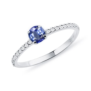 GOLD RING WITH DIAMONDS AND SAPPHIRE - SAPPHIRE RINGS - RINGS