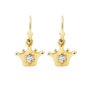 BABY DIAMOND CROWN EARRINGS IN YELLOW GOLD - YELLOW GOLD EARRINGS - EARRINGS