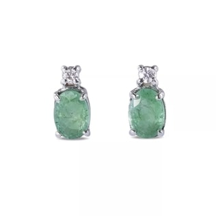 LUXURY EMERALD AND DIAMOND EARRINGS IN 14KT GOLD - EMERALD EARRINGS - EARRINGS