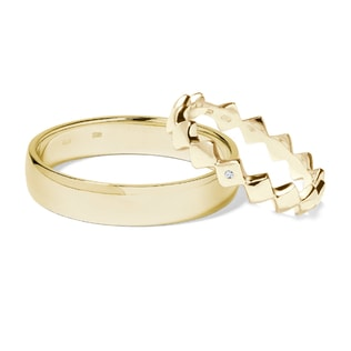 GOLD WEDDING RINGS WITH DIAMOND - DIAMOND WEDDING RINGS - WEDDING RINGS