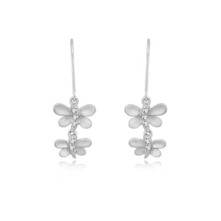 Diamond dragonfly earrings in sterling silver