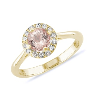 GOLD RING WITH DIAMONDS AND MORGANITE - ENGAGEMENT GEMSTONE RINGS - ENGAGEMENT RINGS