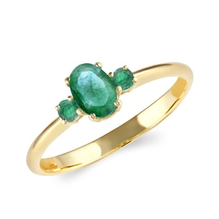 GOLD EMERALD RING - EMERALD RINGS - RINGS