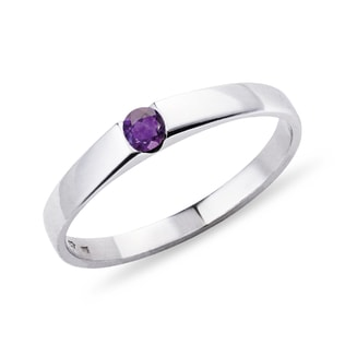 AMETHYST RING IN 14KT WHITE GOLD - WHITE GOLD RINGS - RINGS