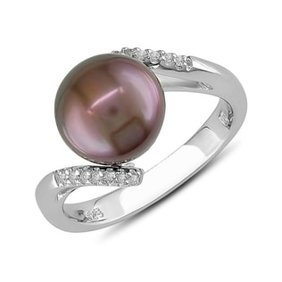 BROWN PEARL AND DIAMOND RING IN SILVER - PEARL RINGS - PEARL JEWELLERY