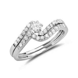 DIAMOND ENGAGEMENT AND WEDDING SET IN 14KT GOLD - ENGAGEMENT AND WEDDING MATCHING SETS - ENGAGEMENT RINGS