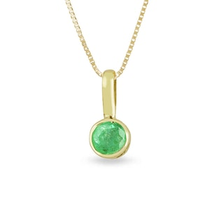 BABY EMERALD PENDANT IN 14KT GOLD - EMERALD PENDANTS - PENDANTS