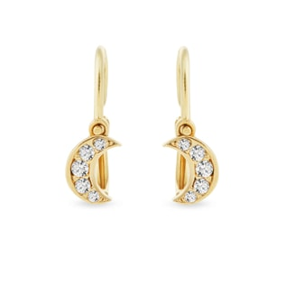 BABY CZ MOON EARRINGS IN 14KT GOLD - CHILDREN'S EARRINGS - EARRINGS