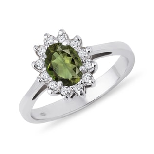 SILVER RING WITH MOLDAVITE AND CZ STONES - MOLDAVITE RINGS - RINGS