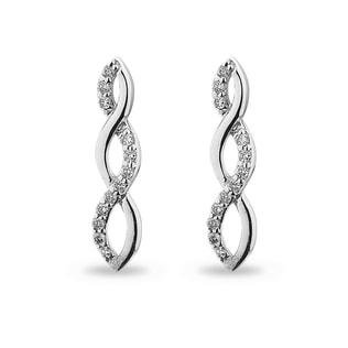 DIAMOND PENDANT EARRINGS IN 14KT WHITE GOLD - DIAMOND EARRINGS - EARRINGS