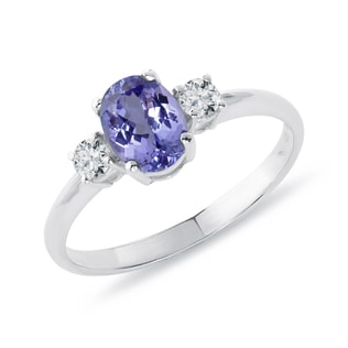 PLATINUM RING WITH DIAMONDS AND TANZANITE - TANZANITE RINGS - RINGS