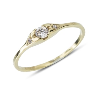 YELLOW GOLD DIAMOND RING - ENGAGEMENT DIAMOND RINGS - ENGAGEMENT RINGS