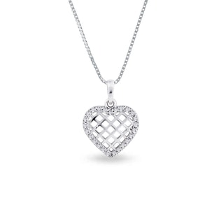 CZ HEART PENDANT IN 14KT GOLD - HEART PENDANTS - PENDANTS