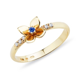 GOLD DIAMOND RING WITH SAPPHIRE - SAPPHIRE RINGS - RINGS