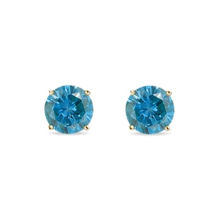 BLUE DIAMOND EARRINGS IN 14KT GOLD - STUD EARRINGS - EARRINGS
