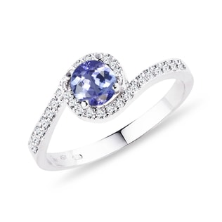 GOLD RING WITH DIAMONDS AND TANZANITE - ENGAGEMENT GEMSTONE RINGS - ENGAGEMENT RINGS