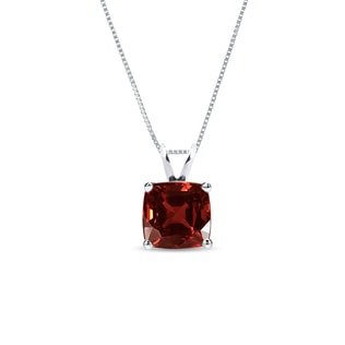 GARNET NECKLACE IN STERLING SILVER - STERLING SILVER PENDANTS - PENDANTS