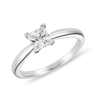PRINCESS-CUT DIAMOND RING IN 14KT WHITE GOLD - DIAMOND RINGS - RINGS