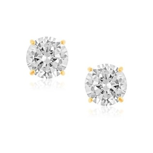 CZ EARRINGS IN 14KT GOLD - CZ STONE EARRINGS - EARRINGS