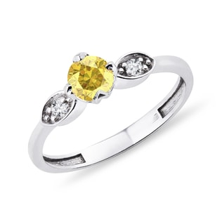 GOLD RING WITH YELLOW SAPPHIRE AND DIAMONDS - SAPPHIRE RINGS - RINGS