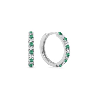 Emerald and diamond hoop earrings in white gold