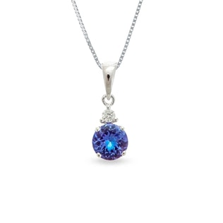 TANZANITE AND DIAMOND PENDANT IN 14KT GOLD - WHITE GOLD PENDANTS - PENDANTS