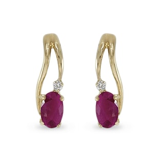 RUBY AND DIAMOND ​​EARRINGS IN 14KT SOLID GOLD - YELLOW GOLD EARRINGS - EARRINGS