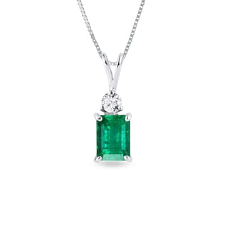 EMERALD AND DIAMOND PENDANT IN 14KT GOLD - EMERALD PENDANTS - PENDANTS