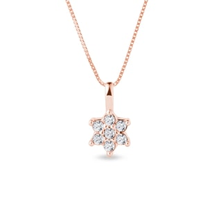 FLOWER-SHAPED DIAMOND NECKLACE - DIAMOND PENDANTS - PENDANTS