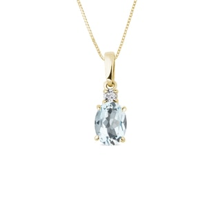 Aquamarine and diamond pendant in 14kt gold