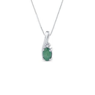 SILVER PENDANT WITH EMERALD DIAMOND - STERLING SILVER PENDANTS - PENDANTS