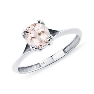 WHITE GOLD MORGANITE RING - GEMSTONE RINGS - RINGS