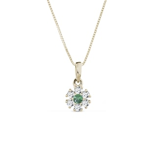 NECKLACE IN YELLOW GOLD WITH DIAMONDS AND AN EMERALD - GEMSTONE PENDANTS - PENDANTS