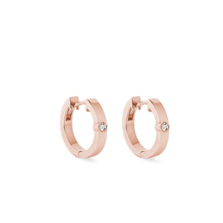 Small diamond hoop earrings in rose gold