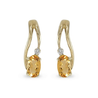 CITRINE AND DIAMOND EARRINGS IN 14KT GOLD - YELLOW GOLD EARRINGS - EARRINGS