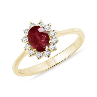 GOLD RING WITH RUBY AND DIAMONDS - ENGAGEMENT GEMSTONE RINGS - ENGAGEMENT RINGS